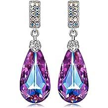 """SIVERY """"Teardrop of Angel"""" Stud Dangle Earrings with Purple Swarovski Crystals, Earrings for Women"""