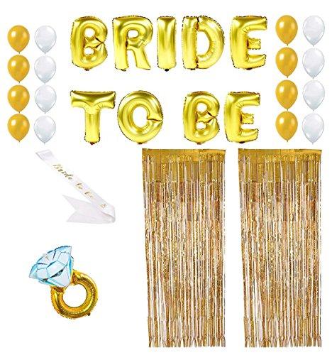 Yalulu 21 Stücksätze BRIDE TO BE Satin Schärpe Gold Folienballons Luftballons, Weiß Gold Latex Luftballons,Folie Vorhang, Diamantfolie Ballons für Junggesellinnenabschied Bachelorette Party Dekoration