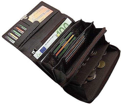 Große Rindleder Damen Geldbörse mit extra vielen Fächern in 4 Farben (Braun)