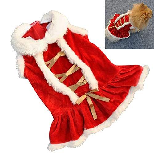 EROSPA® Kleid Haustier Welpen Hunde-Kostüm - Xmas Weihnachten Cristmas Santa Claus - Rot/Weiß (L) (Weißes Kleid Weihnachten Kostüm)