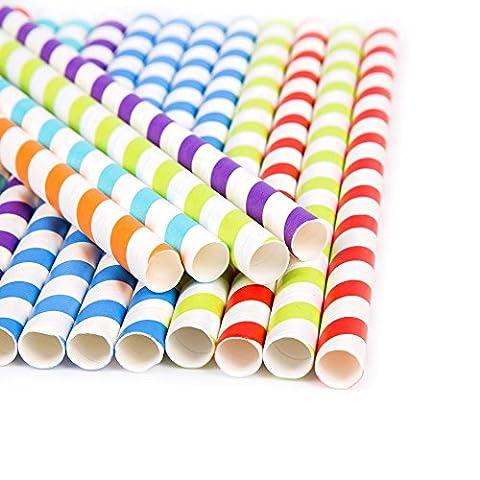 Jumbo rigide Multicolore rayé pailles papier à partir de Robelli 60