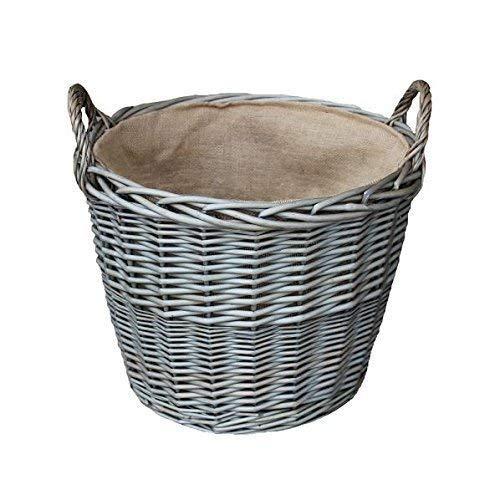 Red Hamper Kleine Antique Wash-Finish Wicker Gefüttert Log Baskets Protokollkorb, Weide, Height 21cm x Width x Depth 24cm