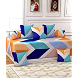 Rang International Glace Cotton Diwan Set,(Set Of 8) 1 Single Bedsheet (90 X 60 Inches), 5 Cushion Covers (16 X 16 Inches) And 2 Boester Covers (31 X 16 Inches), TC-210, Multi