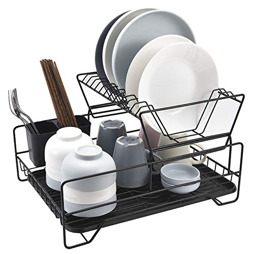 HDLWIS Disches Rack, Metal Japanese-Style Perforated Kitchen Rack, Double-Layer Plate Cutlery Rack Rack,White - White Metal Plate Rack
