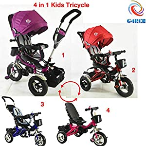 Trike Tricycle Stroller Buggy Wheel Ride Push Rain Cover Rubber Tyres 4 in 1 System (Pink)   11