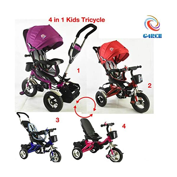 Trike Tricycle Stroller Buggy Wheel Ride Push Rain Cover Rubber Tyres 4 in 1 System (Pink) Generic Removable Leg rest for kids to feet up. Adjustable and removable parent handle or control bar. Plastic seat with removable padded cushion and lap seat belt to keep your child safe. 1