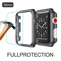 Apple Watch Bumper Case 2win2buy Apple Watch 42mm Series 3/2/1 Protective Shell + HD Clear Tempered Glass Screen Protector 2 in 1 for Smart Watch Anti-scratch -Black