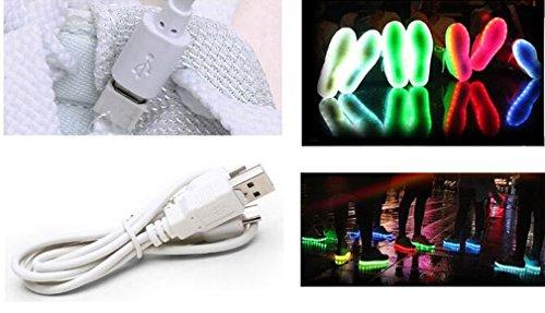 Littlepanda Chaussures unisexe hommes et femmes chaussures de sport USB rechargeable LED chaussures plates clignotantes décontractées Gris foncé