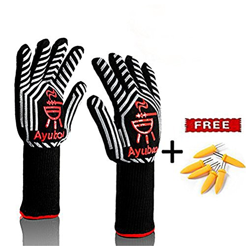 Grillhandschuhe,Premium Ofenhandschuhe,Extra Lange Topfhandschuhe,Backhandschuh, Extrem Hitzebeständige Sicherheit,Schwarz,1 Paar von Ayuboom