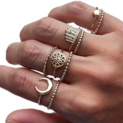 Toporchid Midi Ringe Set Für Damen Retro Fingerring Nagel Finger Gold 9 stück