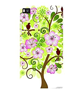 printtech Flower Tree Beautiful Greenery Back Case Cover for Huawei Honor P8