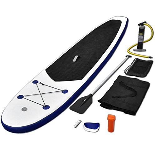 Vidaxl Stand Up Paddle Board Set Sup Surfboard Inflatable Blue And White Picture