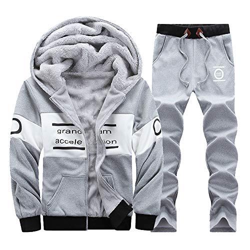 VRTUR Herren Winter Warm Trainingsanzug Mit Kapuze Zwei-Teilig Jogginganzug Casual Sportanzug Langarm Freizeitanzug(M,V-Grau)