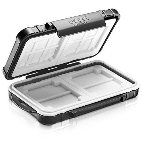 Neewer 14 Slots Memory Card Case Halter, langlebig und wasserdicht Anti-Shock Displayschutzfolie Karte Box 4 SD Karten (schwarz) -