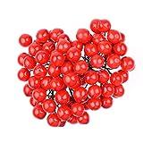 WXJ13 Baies rouges de Noël artificiel, 40 tiges 80 Baies pour composition florale et couronne de Noël