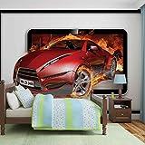 Tapeto Fototapete - Sportwagen Flamen - Vlies 152,5 x 104 cm (Breite x Höhe) - Wandbild Feuer Geschwindigkeit Auto