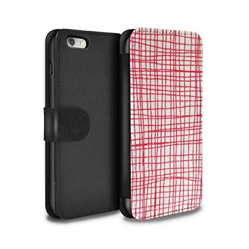 STUFF4 PU-Leder Hülle/Case/Tasche/Cover für Apple iPhone 8 Plus / Gelber Stoff Muster / Heimtextilien Kollektion Linie Stiche