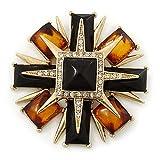 Estilo victoriano negro/color ámbar Cruz de piedra de la resina de capas broche de Metal en tono dorado - 75 mm a través de