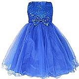 YiZYiF Robe de Mariage Enfant Fille Paillettés Noeud Papillons (3-4 Ans, Bleu)