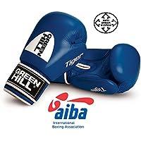 GREEN HILL Guantes DE Boxeo Tiger Aprobado AIBA Combate Rojo Azul Guante ANTISHOCK Piel ANTICHOQUES (10 oz, Azul)