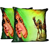 2pcs Multicolor Silk Pillow Covers Indian Traditional Women Digital Print Sofa Cushion Covers