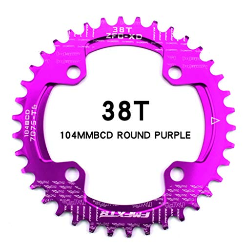DUBAOBAO AM/XC Fahrrad 104BCD runde Einzelscheibe, lila, 32T / 34T / 36T / 38T Mountainbike Fahrradscheibe und Kurbel Furnier,96bcddisc38T -