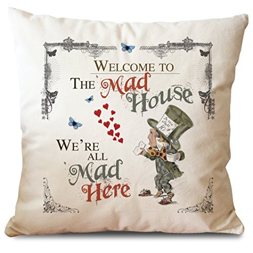 Alice in Wonderland Mad Hatter Tea Party Cushion Cover Mad House by Giraffe and Custard