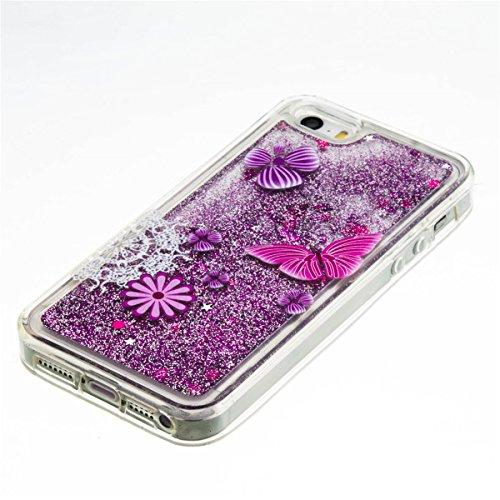 iPhone 5C Hülle, 5C Hülle, Gift_Source [ Silber & Crown Angel ] Glitzer Hülle , Liquid Case, Glitter Hülle Cool 3D Fließen Flüssig Bling Schwimmend Treibsand Stern Luxus Shiny Case Glanz Shiny Effekt  E1-Schmetterling
