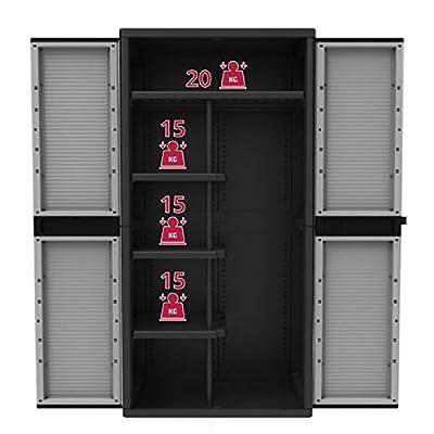 Kunststoff-Schrank Spindschrank XL mit 4 Böden, grau/schwarz - 90 x 54 x 180 cm von BULTO bei Gartenmöbel von Du und Dein Garten