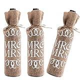 LONGBLE Jute Wein Taschen,Sackleinen Wein Flasche Taschen mit Kordelzug für Champagner Flaschenträger Flasche Wrap Kleider 3 stück Geschenk für Hochzeit Weihnachten Reise Party