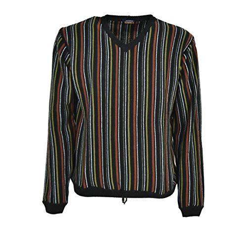 Alessandro Tellini Shirt Mit V-Ausschnitt In Schwarz Zeilen Rost-Grün-Schwarz Grau Schwarz, XXL