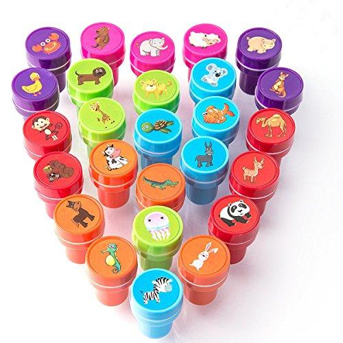 XIAOYAO Stempel Kinder Set 26 Stück, Selbstfärbende Stempelset Tiere ab 2 Jahre -