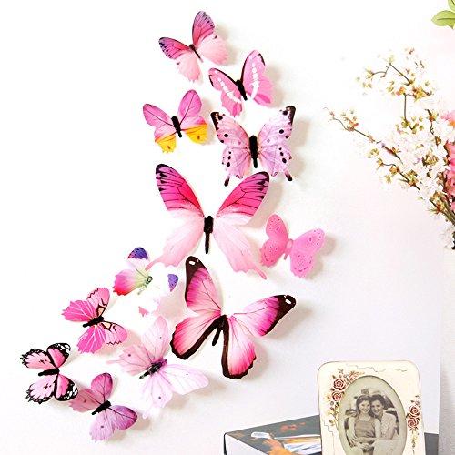 5 Colori Brillanti Farfalle 3D Adesivi per pareti Vari Colori Decorazione casa Stickers murali (12 Pezzi blu,verde,rosa,viola,giallo) (rosa)