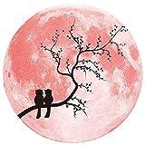 MMLsure® Fluoreszierende Aufkleber,30cm 3D Liebe Mond Fluoreszierende Wandaufkleber Abnehmbare Glow In The Dark Sticker für Kleiderschränke Wand Kühlschrank,Wandsticker Leuchtaufkleber,Rosa (C)