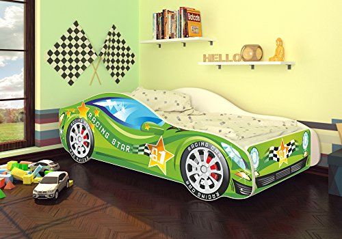 Best For Kids Autobett Kinderbett Bett Auto Car Junior in vier Farben mit Lattenrost und Matratze 70x140 cm Top Angebot! (Grün)