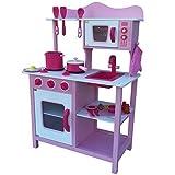 Kinderküche Spielküche PINK ROSA aus Holz Kinderspielküche Spielzeugküche mit Zubehör (rosa)
