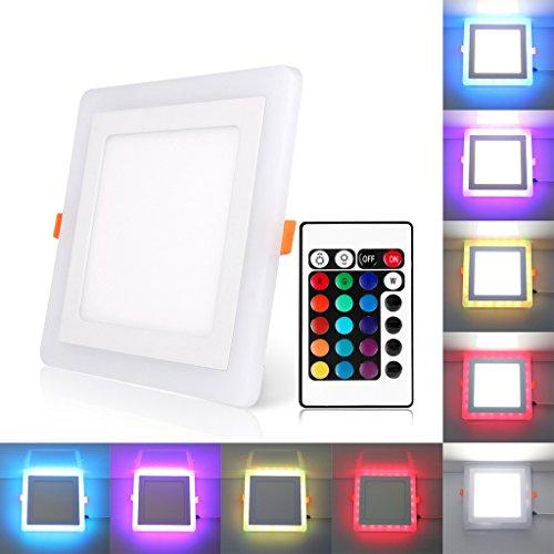 Bloomwin led lampada da incasso a soffitto faretto downlight led con 3 modalità plafoniera illuminazione 18w quadrato rgb+bianco