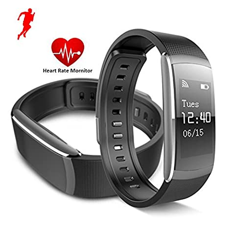 Herzfrequenz Monitor Armband Bluetooth 4.0 Fitness Tracker Wireless Sleep Zähler mit Touch Bildschirm Wasserdicht Schrittzähler Fernbedienung Selbstauslöser Smart Bands für Android iPhone IOS Smart Phones, Schwarz