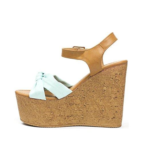 ... Ideal Shoes, Damen Sandalen Türkis ...