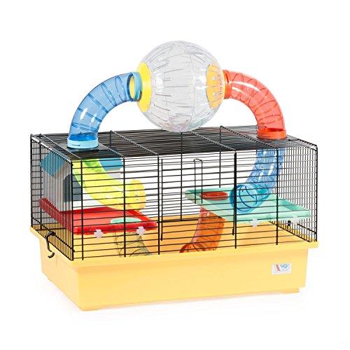 CTC-Trade | Hamsterkäfige Beige Außenmaße 49x32,5x49 Mäusekäfig Nager Hamster Plastik Kleintier Käfig mit Zubehör (Hamster Käfige Für Große Hamster)