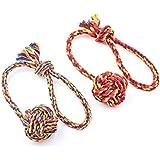 Ecloud Shop® 2PCS Durable Woven Cotton Rope Toys con la bola de la manija para el entrenamiento de masticación del animal doméstico en pequeño (Color aleatorio)