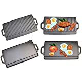 Top Home Solutions® Non-Stick Cast Iron Reversible Griddle Plate Pan for BBQ