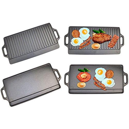 Top Home Solutions®- und Wendbare Grillplatte Gusseisen Pfanne für BBQ & Herd kochen -