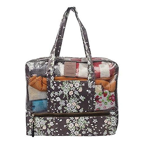 Fency Beach Bag Dry Wet Separate Waterproof Swimming Storage Handbag Zipper Tote … (Coffee daisy)
