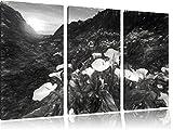 Wundervolle Blumenwiese in den Bergen Kohle Zeichnung Effekt 3-Teiler Leinwandbild 120x80 Bild auf Leinwand, XXL riesige Bilder fertig gerahmt mit Keilrahmen, Kunstdruck auf Wandbild mit Rahmen, gänstiger als Gemälde oder Ölbild, kein Poster oder Plakat