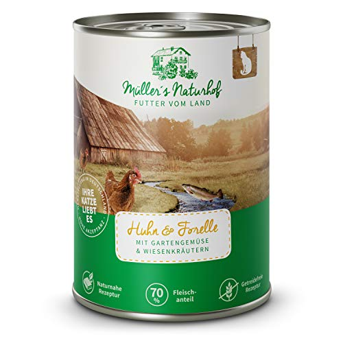 Müllers Naturhof | Nassfutter für Katzen | naturnahe Rezeptur | Huhn & Forelle | 6 x 400 g | getreidefrei | 70{f16838e14f59b74d8fa83a3ff041aa112cfe9c963c65ca1adc5476a44138d991} Fleischanteil | ohne Tierversuche, Zucker, Farb-, Aroma-, Konservierungsstoffe