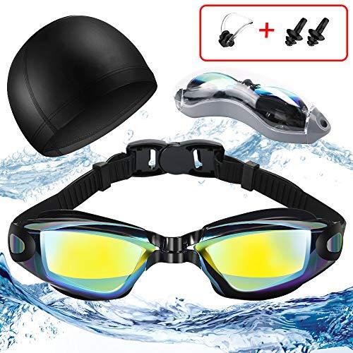 Jasonwell Schwimmbrille Erwachsene Anti-Beschlag UV-Schutz Kein Lecken 180 Grad Sicht und weiche Schwimmkappe Nasensteg Flexible Schwimmbrille für Männer Frauen Erwachsene Kinder