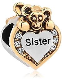 """Uniqueen - Abalorio para pulsera de Chamilia con diseño de corazón y oso con diamantes de imitación, con texto en inglés """"I Love You"""""""