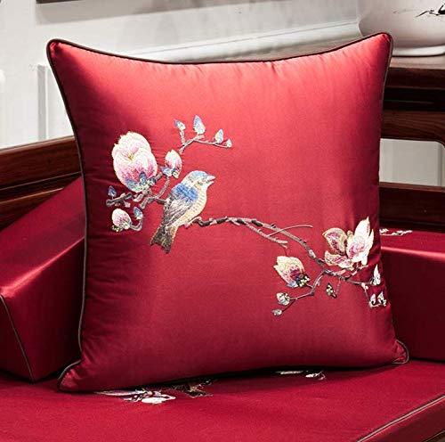 Mahagoni Outdoor-sofa (Gongchen Chinesische Mahagoni Sofa Kissen Rest Pad Pad Spad Stickerei Kissenbezug Chinesische Wind Back Home Wohnzimmer Kissen mit Kern 33 cm x 50 cm (mit Kern))
