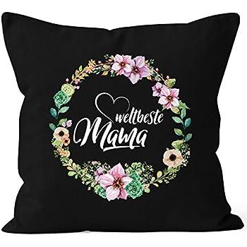 MoonWorks Kissenbezug Beste Mama der Welt Geschenk f/ür Mutter Muttertag 40x40 Baumwolle Navy Pullover